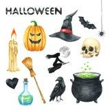 Halloween przyjęcia ilustracja Świeczka, bania, czarownica kapelusz, nietoperz, Scull, Czarny serce, jad butelka, kruk, czarownic ilustracja wektor