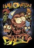 Halloween przyjęcia plakatowy projekt z potwora tłumem Fotografia Royalty Free