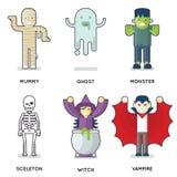 Halloween przyjęcia potwora charakterów projekta wektoru ikona Ustawiającej Odizolowywającej Płaskiej ilustraci rola Fotografia Stock