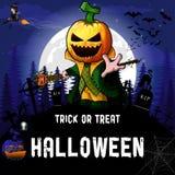 Halloween przyjęcia projekta szablon z czarownicą, Dyniowymi postać z kreskówki, banią i lampą, royalty ilustracja