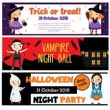 Halloween przyjęcia sztandary Zaproszenia, reklamy z szczęśliwymi dziećmi ma zabawę ilustracja wektor