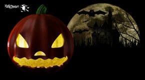 Halloween przyjęcia tło z baniami w trawa nietoperzach M i Zdjęcie Stock