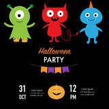 Halloween przyjęcia zaproszenie grępluje potwora charakteru wektor złudzenie Obraz Stock