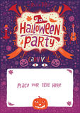 Halloween przyjęcie Halloweenowy plakat, karta lub tło dla Halloween przyjęcia zaproszenia, Fotografia Royalty Free