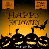 Halloween przyjęcia projekta wektor z baniami i miejscem dla teksta, royalty ilustracja
