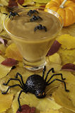 Halloween pudding with spiders Royalty Free Stock Photos