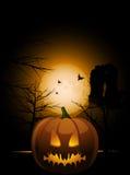 Halloween Pumkin And Abbey Royalty Free Stock Photo