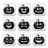 Halloween pumkin buttons set. Celebrating halloween - pumpkin with scary faces buttons set isolated on white vector illustration
