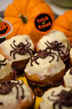 Halloween pumkin muffins Royalty Free Stock Images
