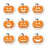 Halloween pumkin  orange icons set Royalty Free Stock Photos