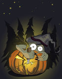 Halloween pumking and evil monster Stock Image
