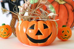 Halloween Pumkins. Three decorative pumpkins for the autumn and Halloween seasons Royalty Free Stock Photo