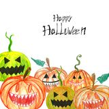 Spooky Halloween carved hand drawn pumpkins border on white. vector illustration