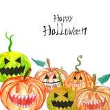 Spooky Halloween carved hand drawn pumpkins border on white. Halloween pumkins background.Hand painted illustration of creepy spooky vegetables pumpkins Vector Illustration