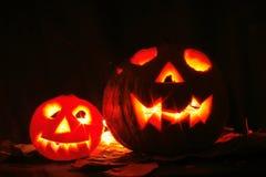 Halloween pumkins on the black background Stock Image