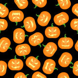 Halloween Pumkins Seamless Pattern Background. Vector Royalty Free Stock Images