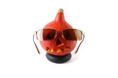 halloween Pumpa med exponeringsglas Royaltyfria Bilder