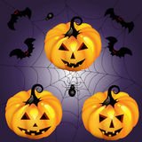 Halloween pumpa med spindeln Royaltyfri Foto
