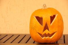 Halloween pumpa som utomhus skjutas Royaltyfri Bild