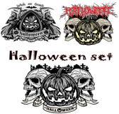 Halloween pumpaset Arkivbild