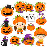 Halloween pumpaset stock illustrationer