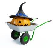halloween pumpaskottkärra stock illustrationer