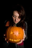 Halloween pumpkin. A person holding a halloween pumpkin Stock Images