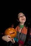 Halloween pumpkin. A person holding a halloween pumpkin Stock Photo