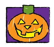 Halloween -  Pumpkin. Illustration of a halloween jack-o-lantern as if drawn by a child Stock Photo