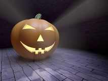 Halloween pumpkin. Halloween pumpkin with light rays photorealistic 3D rendering Stock Illustration