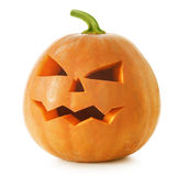 Halloween Pumpkin. Beautiful Halloween Pumpkin.Scary Jack OLantern over white royalty free stock photos
