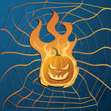 Halloween pumpkin. Vector illustration with yellow halloween pumpkin on fire and web Royalty Free Stock Photography
