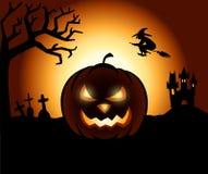 Halloween Pumpkin. In a Creepy Scenery Royalty Free Stock Photos