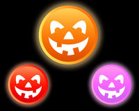 HALLOWEEN PUMPKIN. Icons on black background Stock Photography
