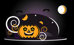 Halloween with pumpkin. In night Royalty Free Stock Image