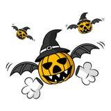Halloween Pumpkin. Three Flying Creepy Halloween Pumpkin Royalty Free Stock Image