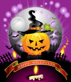 Halloween pumpkin. Halloween card design with pumpkin in cemetery Royalty Free Stock Photography
