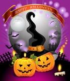 Halloween pumpkin. Halloween card design with pumpkins in cemetery Stock Images