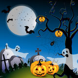 Halloween with pumpkin. Ghost and bat and tree Stock Images