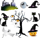 Halloween with pumpkin. Ghost , bat and tree Royalty Free Stock Photo