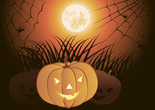 Halloween Pumpkin. Against the full moon Royalty Free Stock Photography
