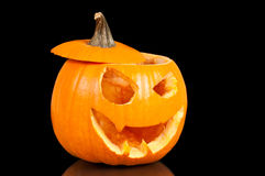 Halloween pumpkin. On black background Royalty Free Stock Photography