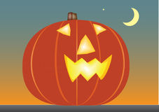 Halloween pumpkin. Illustration of Halloween pumpkin, moon, star Royalty Free Stock Photo