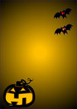 Halloween pumpkin. Background for halloween with a funny pumpkin and bats royalty free illustration