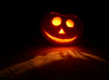 Halloween pumpkin. With candle lighting Royalty Free Stock Images