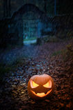 Halloween pumpkin with ancient gate Royalty Free Stock Images