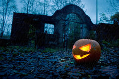 Halloween pumpkin with ancient gate Royalty Free Stock Photos