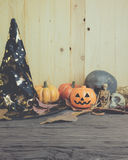Halloween pumpkin any vary ornament on wood Royalty Free Stock Images