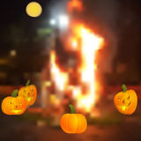 Halloween - the pumpkin around the campfire. Royalty Free Stock Image