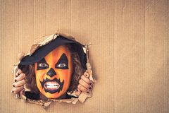 Halloween Pumpkin Autumn Holiday Concept. Funny child dressed witch costume looking through hole on cardboard. Happy kid painted terrible pumpkin holding banner Stock Photo